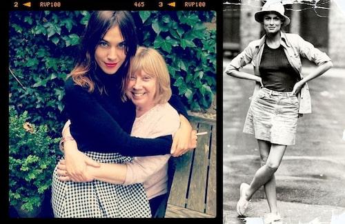 Alexa Chung med mamma Gillian till vänster. Till höger bild på Lauren Hutton i New York 1973.