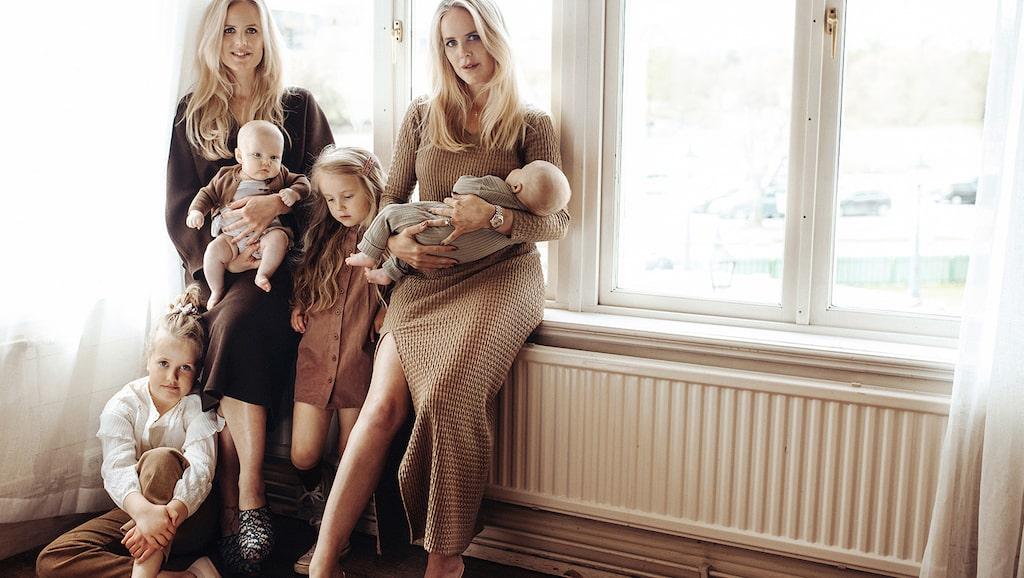 Tilda Bjärsmyr har barnen Charlize, Luiza och Zack medan tvillingsystern Joanna Fingal har dottern Cleo.