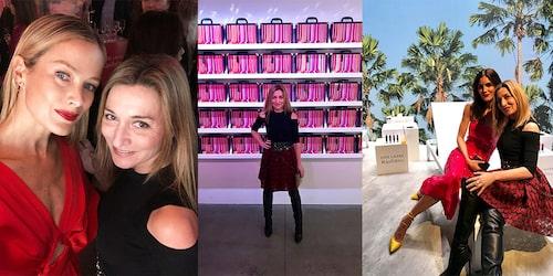 Martina Bonniers på Estée Lauders event i New York. Till vänster modellen Carolyn Murphy och till höger modellen Hilary Rodah.