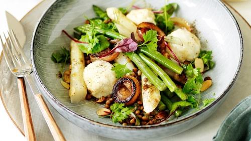 Recept på ricotta-gnudi med linser, sparris, brynt smör och picklad lök.