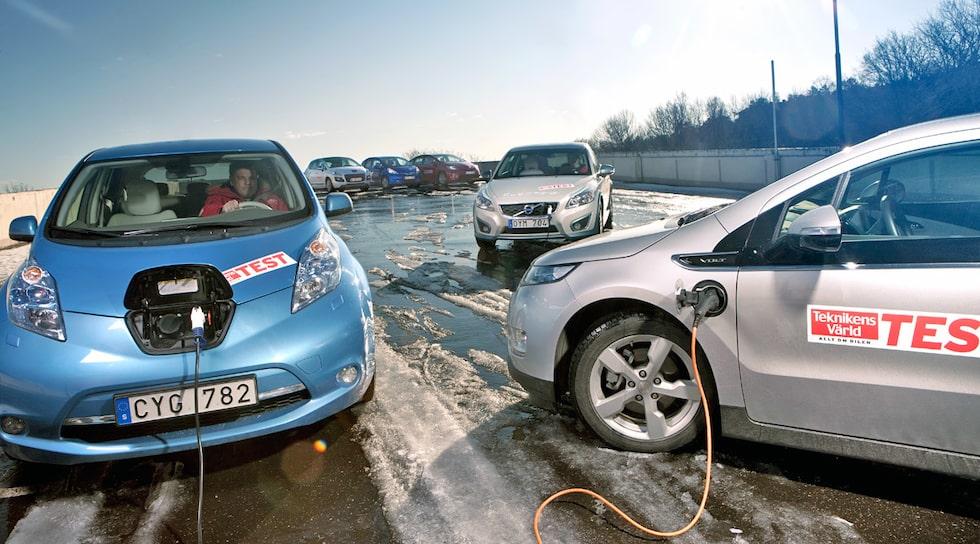Bild från Teknikens Världs elbilstest år 2014.