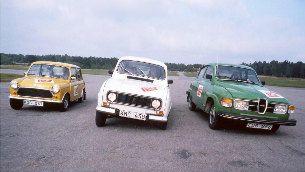 Nja, knappast bilmodeller som tog ut svängarna. Leyland Mini, Renault 4 och Saab 96 körde i väl uppkörda spår.
