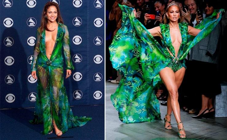 T.h.: Jennifer Lopez i Versace på Grammy-galan år 2000. T.v.: Jennifer Lopez visade upp Versaces nya klänning för deras SS20-visning i Milano.