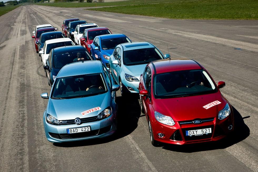 Stort golfklasstest: Citroën C4, Ford Focus, Hyundai i30, Kia Cee'd, Mazda 3, Mitsubishi Lancer, Opel Astra, Peugeot 308, Renault Megane, Seat Leon, Skoda Octavia, Toyota Auris och Volkswagen Golf.