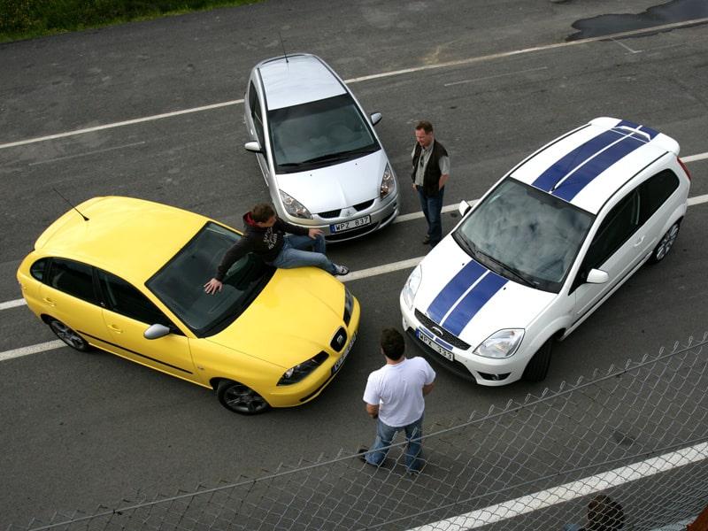 Provkörning av Ford Fiesta ST, Mitsubishi Colt CZT och Seat Ibiza 1,8 20V FR.
