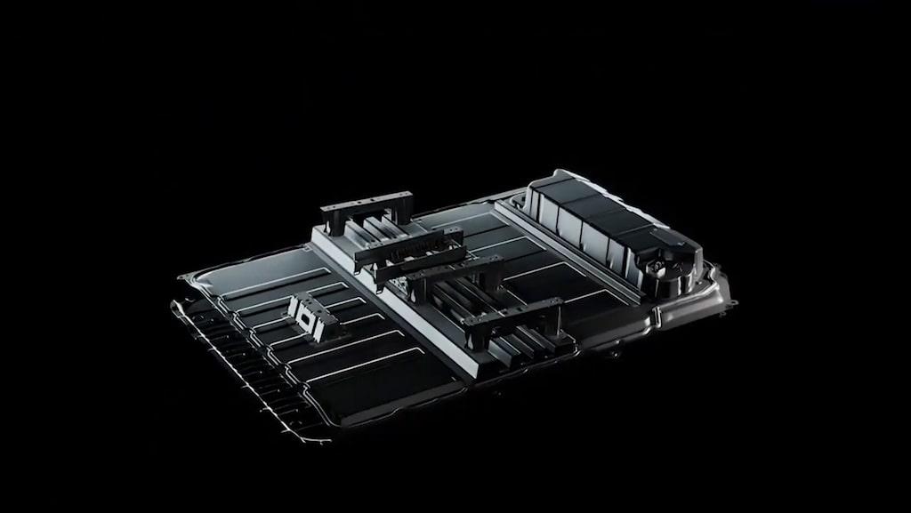 Batteripack innehållandes nya 4680-cellen.