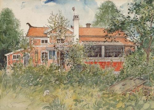På Carl Larssons akvarell från 1894–95 ur serien Ett hem syns husets väst-fasad med förstukvisten.