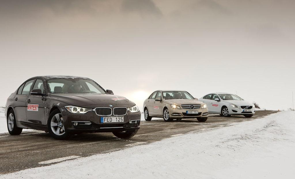 Test av nya BMW 3-serie mot Mercedes C-klass och Volvo S60