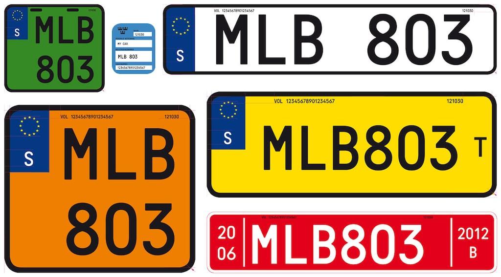 Registreringsskylt Sverige 2014