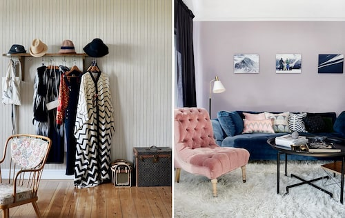 Till vänster: På hatthyllan i sovrummet hänger Iaa ständigt nya kläder som inspiration. På plats denna dag en pälsväst från parisdesignern Quentin Veron, vintagejacka från Gucci, hängselbyxor från Ganni samt en traditionell klädedräkt från Oman. Vintagekoffert från Goyard och hundresväska, Louis Vuitton. Till höger: Hall, genomgångsrum och bästa chill-rummet. Josef Franks djupa Liljevalchssoffa och loppisfyndad rosa sammetsfåtölj lockar till häng. Bord av Per Öberg, liksom soffan från Svenskt tenn. På väggen några av Roberts egna alster med motiv från Alperna.