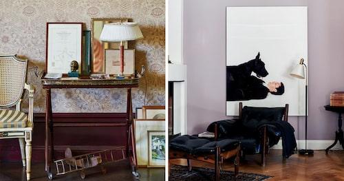 Till vänster: Vardagsrummet är tapetserat med William Morris Sunflower. Brickbord och bronsstatyett från loppis, och stol och flygplan inköpt i antikaffärer i Frankrike. Till höger: Fåtöljen Moleca är helt demonterbar och tillverkad i massiv jakaranda, design 1963 av Sergio Rodrigues. Fotografi Aware but still there av Maria Friberg.