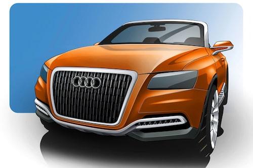 Designskiss av Audi Cross Cabriolet quattro.