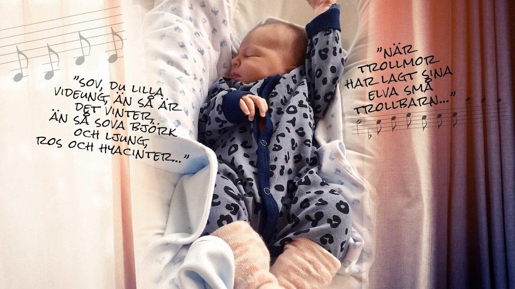I ett babynest sover bebisen tryggt och säkert.