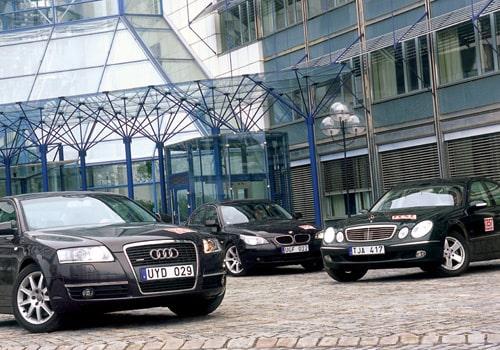 Audi A6, BMW 530 iA och Mercedes E320