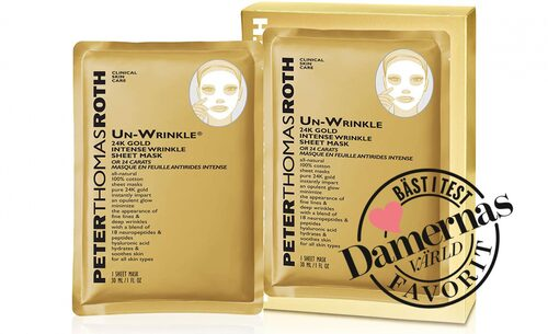 Recension på sheetmasken Un-wrinkle 24k gold intense wrinkle sheet mask, Peter Thomas Roth.