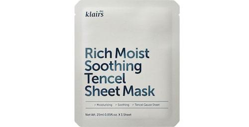Recension på Rich moist soothing tencel sheet mask från Klairs.