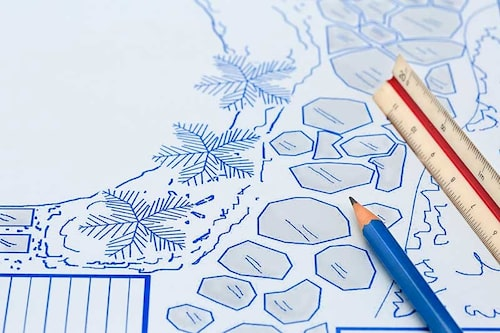 Rita ut rabatterna på planteringsplanen i rätt skala. En skallinjal kan hjälpa till att beräkna avstånd och en plastmall med former kan hjälpa till att rita ut plantor.