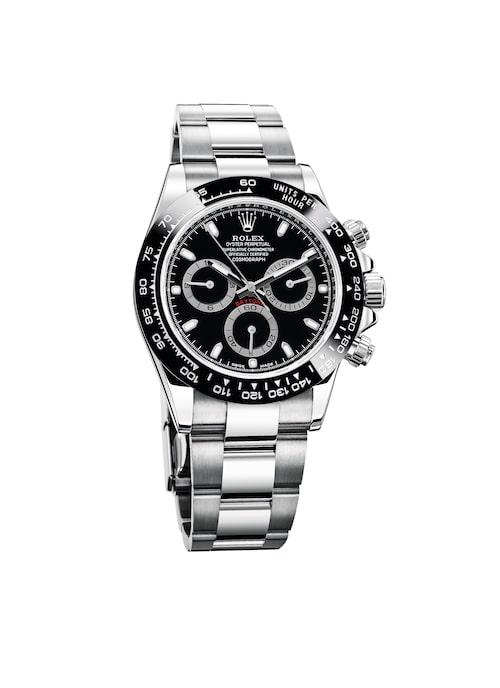 """BRITTAS VAL: VÄRLDSKÄNDIS. En av världens mest eftersökta modeller är Rolex Daytona i stål, som brukar kallas """"klockan som ger pengarna tillbaka i hela världen"""". Den tillverkas i mindre antal än vad marknaden önskar, och kölistan är lång. Pris: 142100 kronor."""