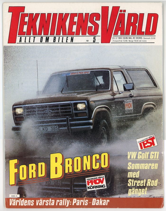 Vi provkörde Ford Bronco i Teknikens Värld nummer 5/1983.