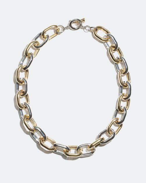 Halskedja i både silver - och guldfärg från Glitter.