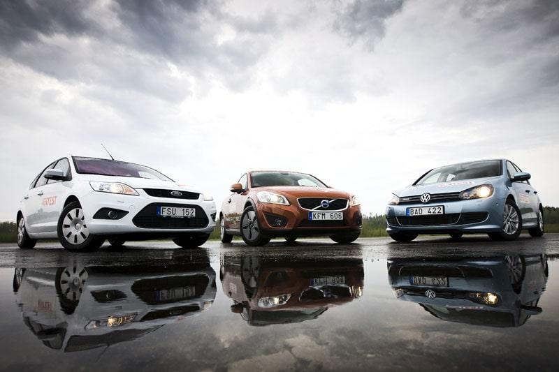 Ford Focus Econetic, Volvo C30 DRIVe och Volkswagen Golf BlueMotion.