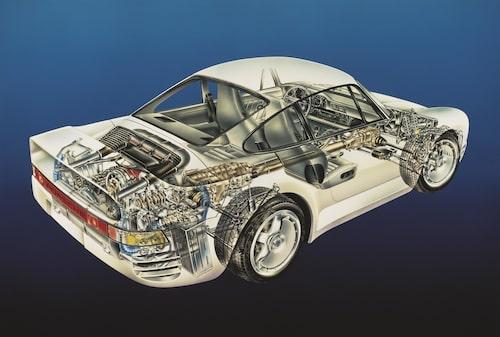 Den imponerande motorn var av typen isberg. Den såg inte mycket ut för världen när den satt på plats i bilen. Det mesta fanns under ytan. För hemmamekaren var 959 en mardröm, men serviceintervaller på 2 000 mil var en tröst.