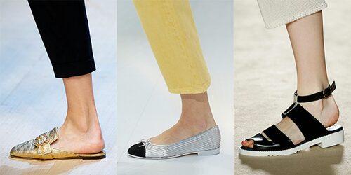 Sommarens skotrender hos Dolce & Gabbana, Chanel och Alarcon: slip-ins, ballerinor och sandaler.
