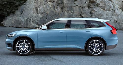 Nästa generation Volvo V40 blir en riktig, om än liten, kombi till skillnad från nuvarande V40. Den får samma axelavstånd, 270 centimeter, som XC40 och blir cirka 440 centimeter lång.