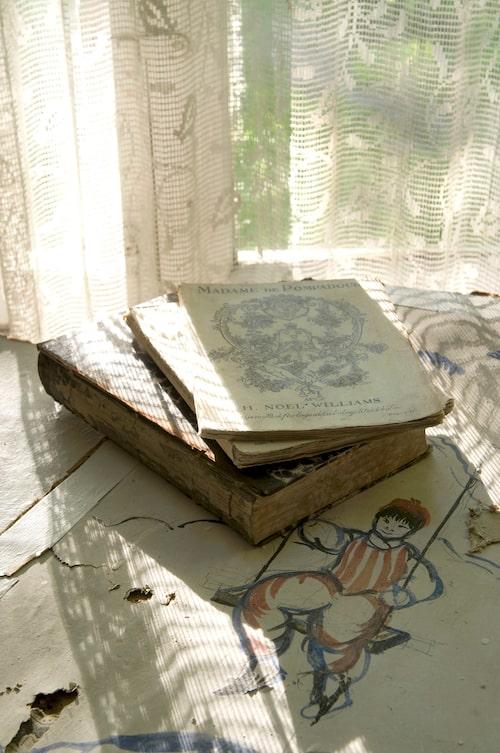 Överallt i huset fanns kvarlämnade böcker, här några häften med gamla illustrationer som skurits ner från väggarna.