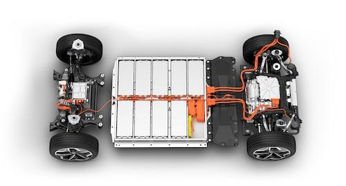Batteripack på 58 kWh placerat på Volkswagens MEB-plattform.