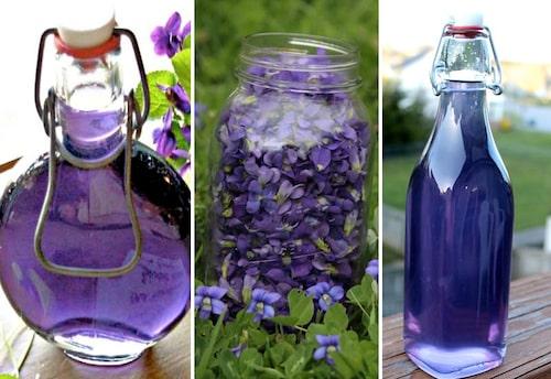 Recept för violsirap som används till glasyrer, makroner och drinkar.