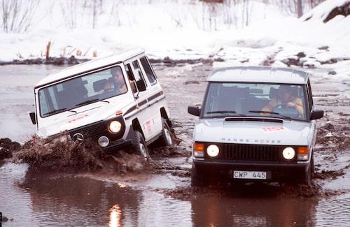 Mercedes G-klass mot Range Rover i Teknikens Värld nummer nummer 11/1985.