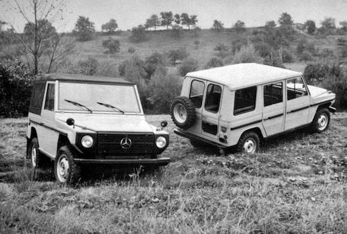 """Bild från interntidning 1975 där G-klass kallas för """"Cross Country Car""""."""