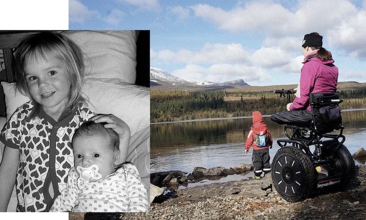 """Marit har tagit fram en sits till segway, en så kallad Addseat, vilken har blivit ett komplement till rullstolen: """"Den skapade en helt ny värld för mig som småbarnsmamma."""""""