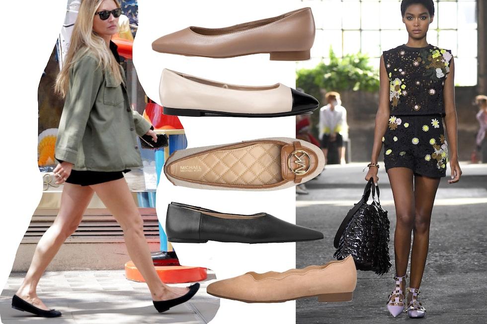 Kate Moss gjorde ballerinaskon populär på 90-talet och nu bär hon dem igen. Till höger visar Valentino sin version av spetsiga ballerinaskor med nitar och ankelremmar.