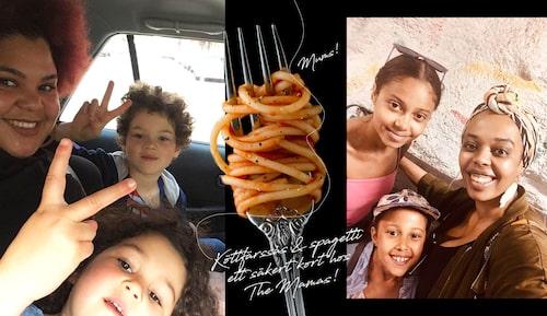 The Mamas Loulou LaMotte med barnen Marvin och Millie May samt Dinah Yonas Manna med sina döttrar Amanda och Olivia.