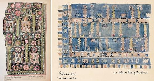 T.v.: Akvarellskiss av det som senare blev Svarta trädgårdsmattan. T.h.: Skiss av mattan ståndaren.