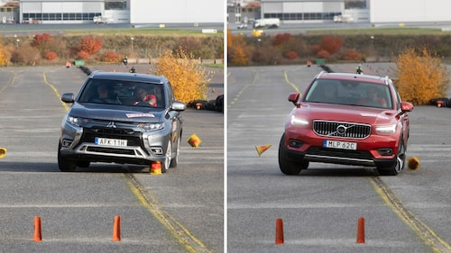 Both the Mitsubishi Outlander Plug-in Hybrid and the Volvo XC40 Recharge T4 understeer out of the track at 70 and 71 km / h respectively (43.5 and 44.1 mph). None of them are approved in the moose test, but run significantly better than the Toyota RAV4 Plug-in Hybrid.