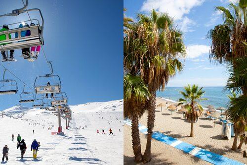 Skidorten Sierra Nevada ligger så nära kusten att du kan hinna med en afterski på stranden.