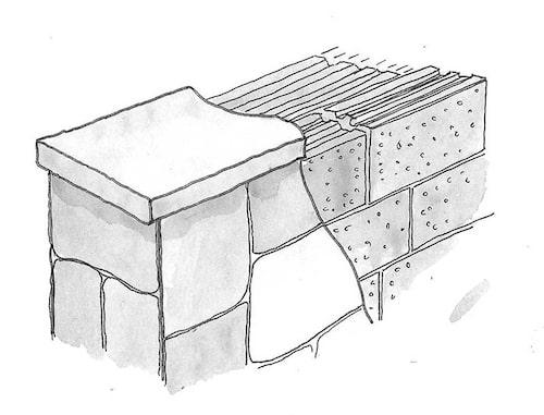 Klädd mur. Beklädnadsmur av lecablock och stenplattor. Muren kan även putsas.