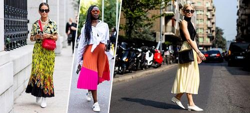 Matcha din mönstrade kjol med mer mönster upptill, en vit krispig skjorta eller en enfärgad enkel top. Stövletter, sneakers eller loafers - plisserad kjol går till alla skor!