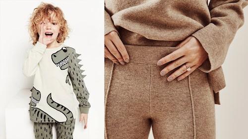Rolig pyjamas för barn och mjukisset i kashmir för dam.