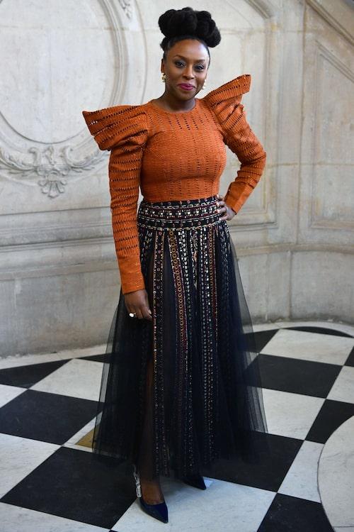 I topp från the Ladymaker och kjol från Christian Dior.
