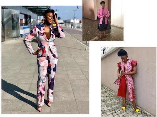 Stora bilden: I Stockholm i kostym från Mae Otti. Lilla bilden: Kjol från Isi Atagamen Fashion Label och topp från TNL Designs.Till höger: Outfit från NayaRose och slippers från Kene Rapu.
