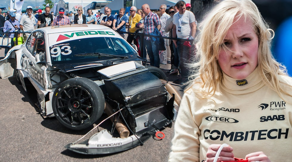 Emma Kimiläinens Saab 9-3 efter kraschen.