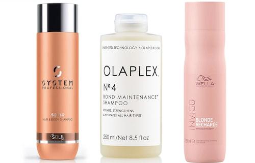 Schampo Solar Hair & body shampoo, System Professional. Schampo N°4 Bond maintenance, Olaplex. Schampo Invigo blonde recharge shampoo, Wella Professionals.