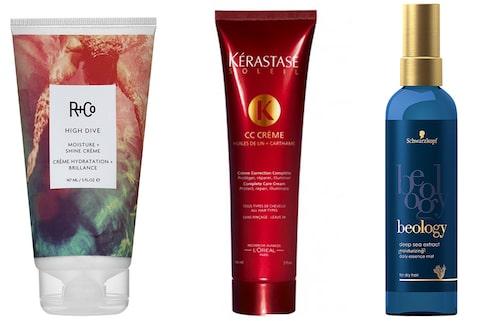 High dive moisture + shine cream, R+Co. Soleil CC crème, Kérastase. Moisture spray essence, Schwarzkopf Beology.