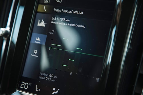 Grafiskt går det enkelt följa förbrukningen, även om vi mäter manuellt genom att faktiskt tanka bilen.