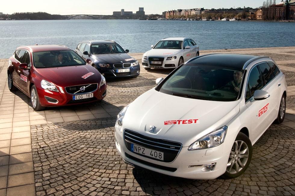 Peugeot 508 SW i test mot Audi A4 Avant, BMW 3-serie Touring och Volvo V60.