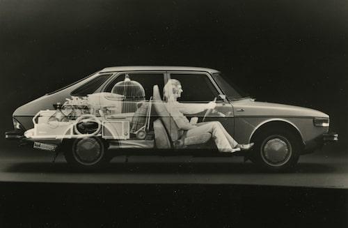1974 kom Saab 99 Combi Coupé i tredörrarsutförande. Först 1976 kom 99 Combi Coupé i femdörrarsutförande (bilden) och se så rymlig den var.